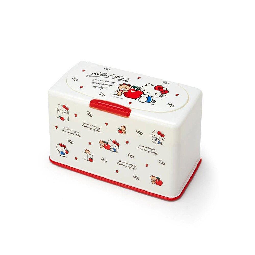 Hello Kitty小熊蘋果造型按壓式防灰塵掀蓋口罩收納盒