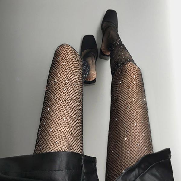 ANNAS 正韓鑽石網襪閃亮水鑽亮片絲襪褲襪打底襪網紗 簍空蕾絲性感夜店派對聖誕跨年韓國