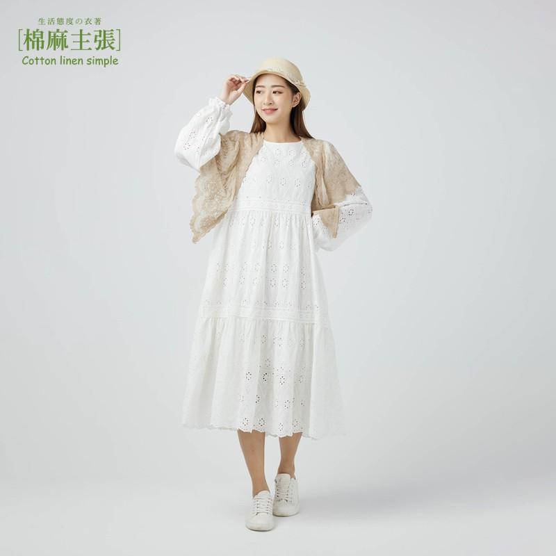 棉麻主張【荷葉袖簍空蕾絲洋裝】-三色售