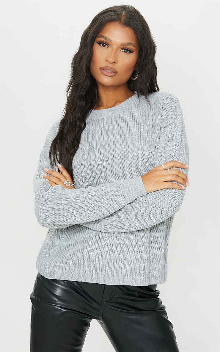Grey Basic Crew Neck Knitted Jumper
