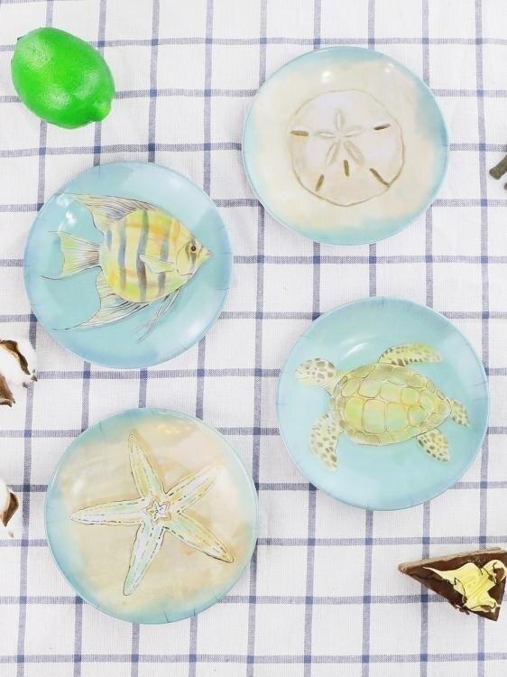 4件套創意密胺小碟子小盤子家用吐骨碟餐碟菜碟歐式餐具套裝耐摔  聖誕節狂歡購