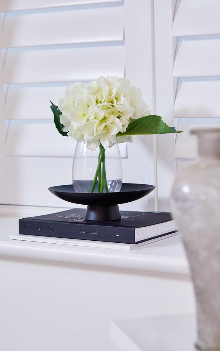 White Hydrangeas in a Glass Vase