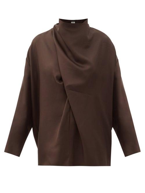 Totême - Draped Silk Blouse - Womens - Dark Brown