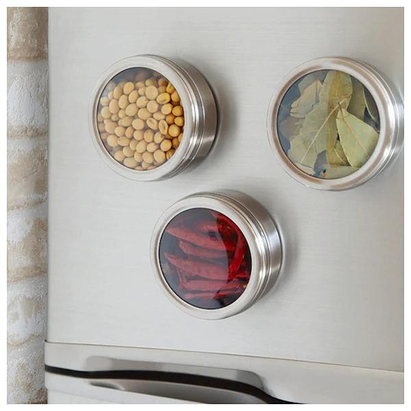 附磁鐵不鏽鋼儲物罐3入組 NITORI宜得利家居