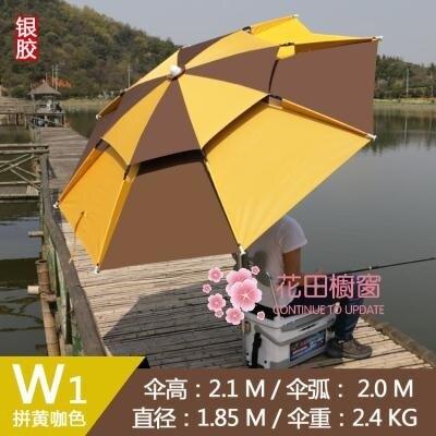 戶外遮陽傘 雨傘2.4米萬向防雨防曬戶外釣垂大釣傘黑膠遮陽加固釣魚傘T 8號時光