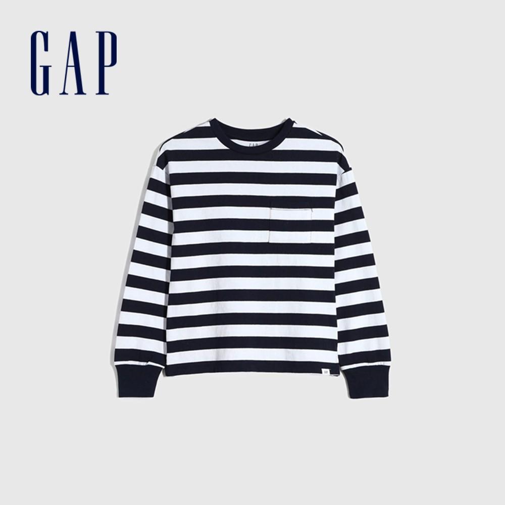 Gap 男童 舒適純棉圓領長袖T恤 661665-海軍藍條紋