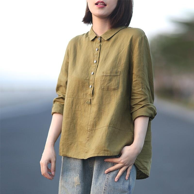韓版減齡純色棉麻長袖襯衫女秋裝休閒翻領套頭打底衫寬鬆百搭上衣