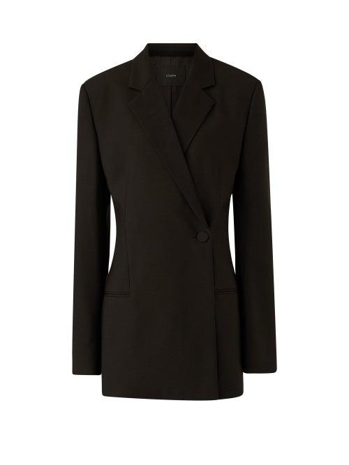 Joseph - Joplin Double-breasted Wool-blend Barathea Jacket - Womens - Black