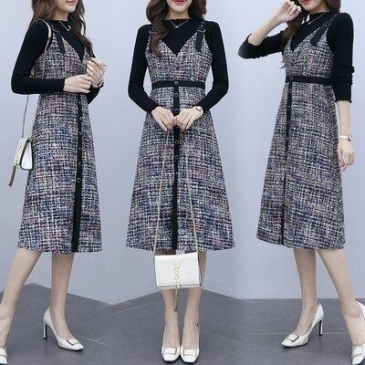 新品▶長袖洋裝 針織連身裙時尚兩件套2019年秋裝新款女裝修身顯瘦氣質套裝裙子潮NA18-B 韓依紡
