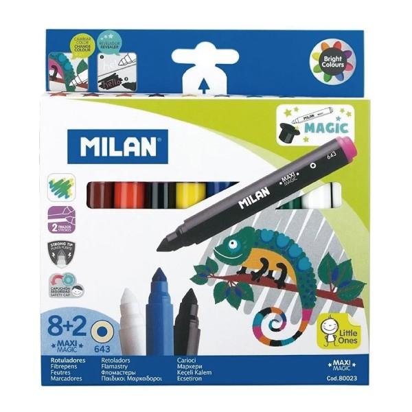 MILAN 可水洗魔法變色彩色筆(粗筆桿8+2色)【麗兒采家】