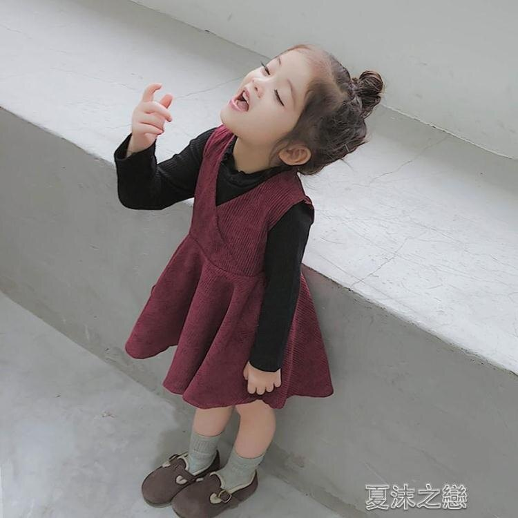 女童洋裝 女童背心裙秋冬寶寶連衣裙冬季兒童洋氣裙子小童加絨裙冬裝新
