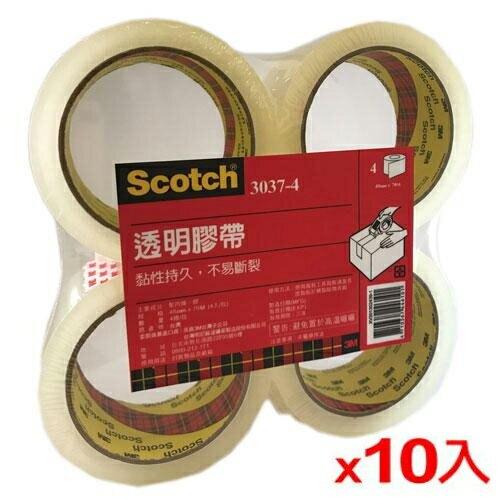 3M 3037-4 透明封箱膠帶-4入/組(4.8cmX70m)x10組【愛買】