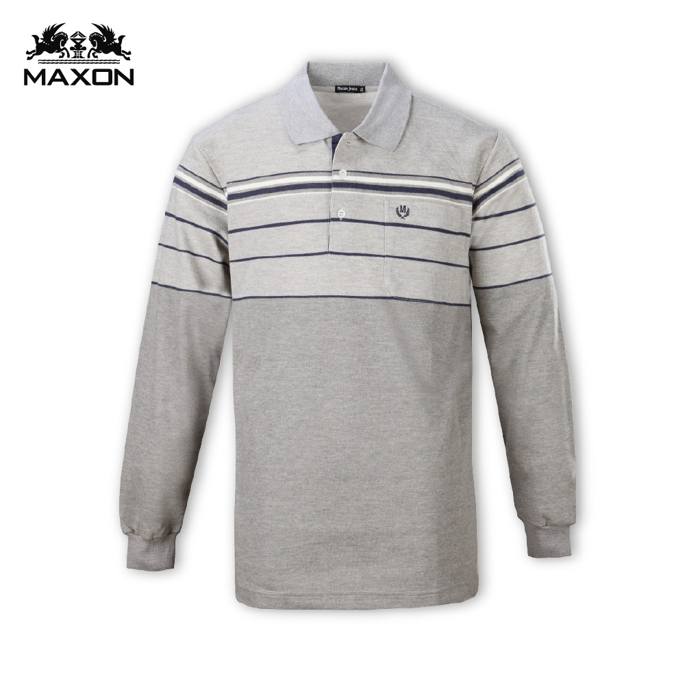 【MAXON】台灣製/大尺碼麻灰藍條紋長袖POLO衫XL-4XL 加大尺碼 特價免運