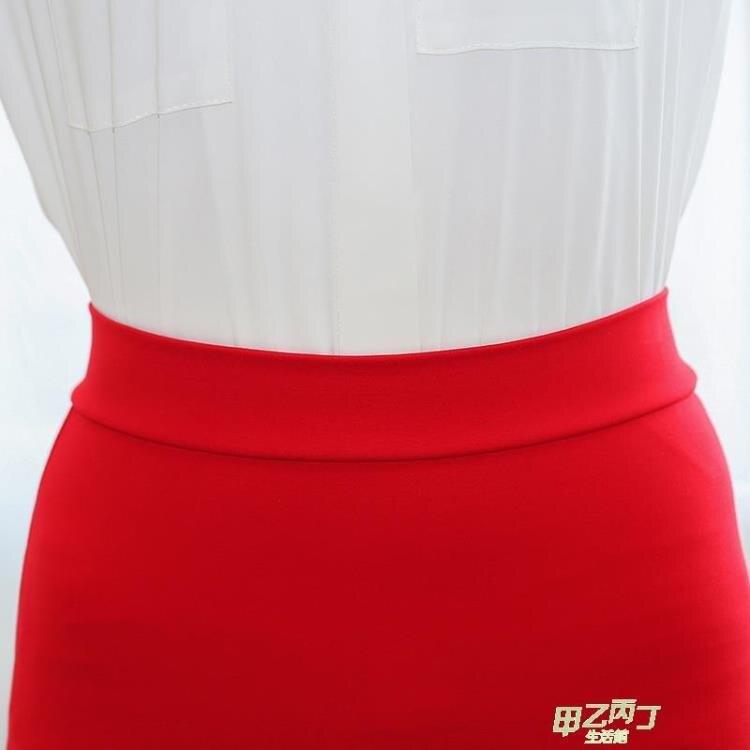 秋季新品正韓包臀裙半身裙女高腰短裙彈力大尺碼包裙西裝職業一步裙 【快速出貨】