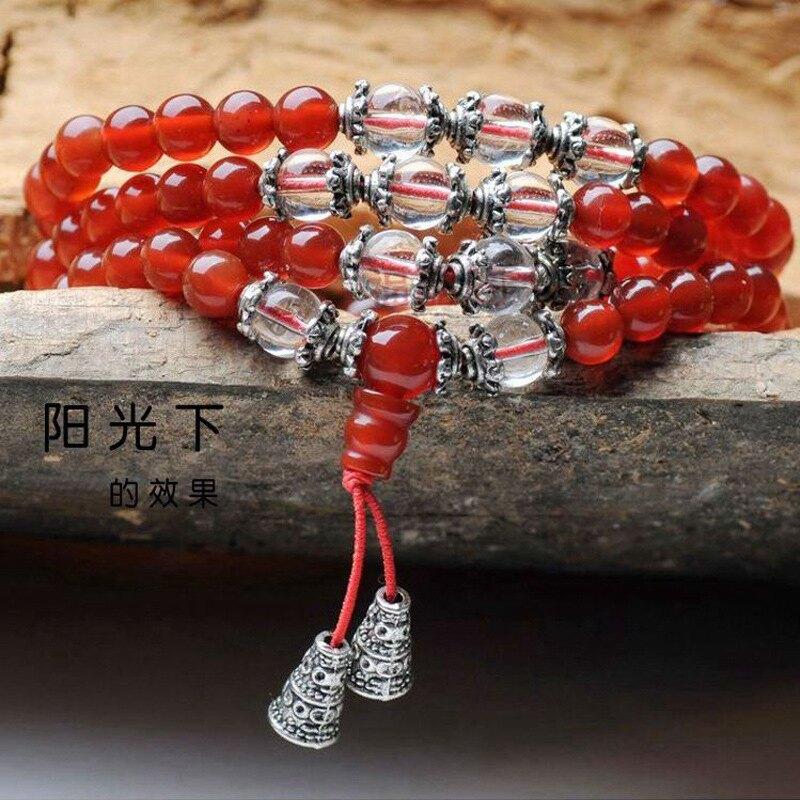 天然紅瑪瑙多圈手串男女通用108顆佛珠項鏈手鏈 經典佛珠時尚手鏈1入