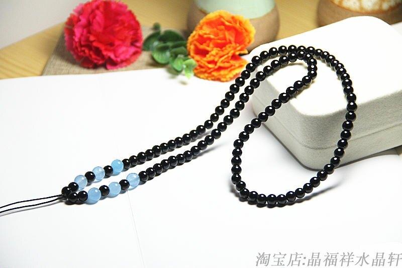 天然黑曜石黑瑪瑙搭配藍玉髓珠鏈繩時尚新款吊墜繩掛墜繩長款墜繩1入