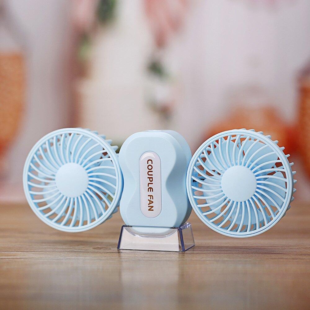 創意情侶迷你風扇 手持USB小風扇雙電機折疊帶夜燈usb電風扇1入