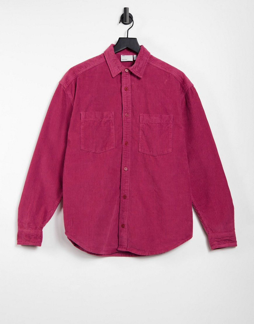 ASOS Dark Future 90s oversized chunky cord shirt with embroidery detail-Red