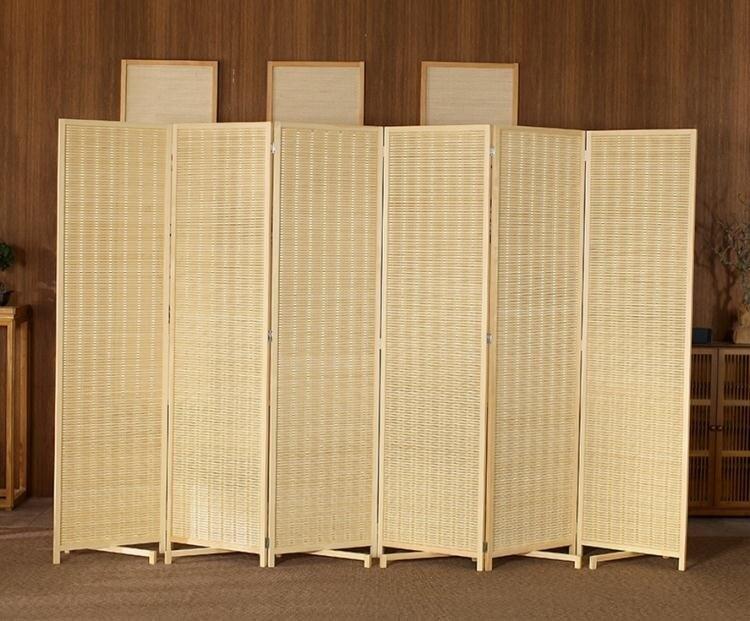 新中式竹編屏風客廳房間臥室行動折屏簡約現代摺疊隔斷墻遮擋家用
