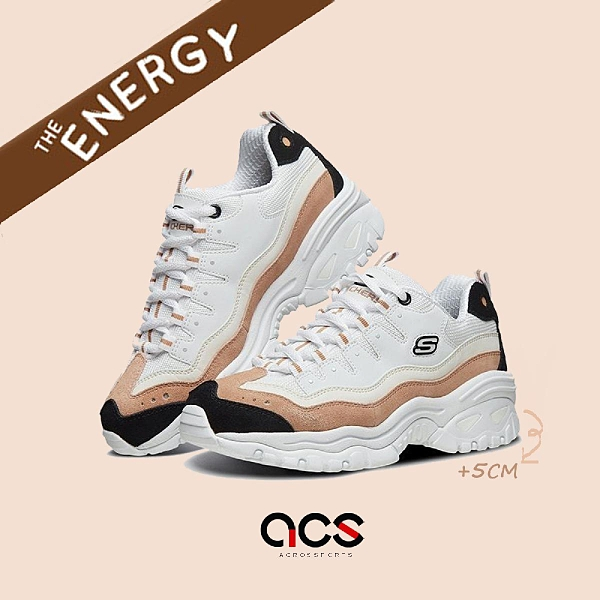 Skechers 休閒鞋 Energy-Sunny Waves 白 咖啡 女鞋 老爹鞋 麂皮 厚底 增高 【ACS】 13413WNT