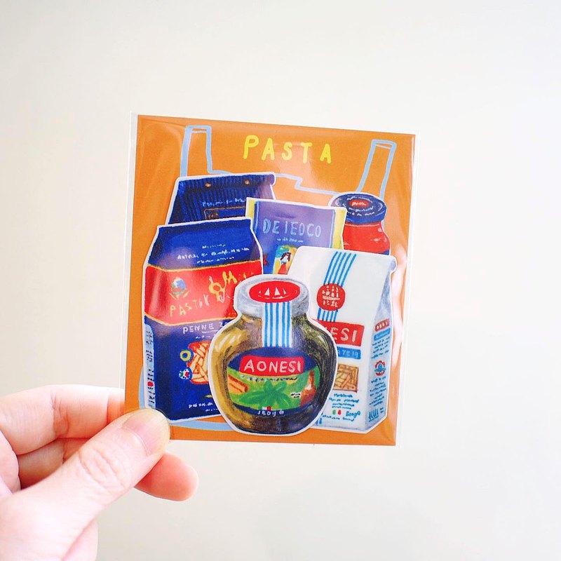 E*group  E rei 義大利麵包裝插畫 6入 PVC防水貼紙 造型貼紙