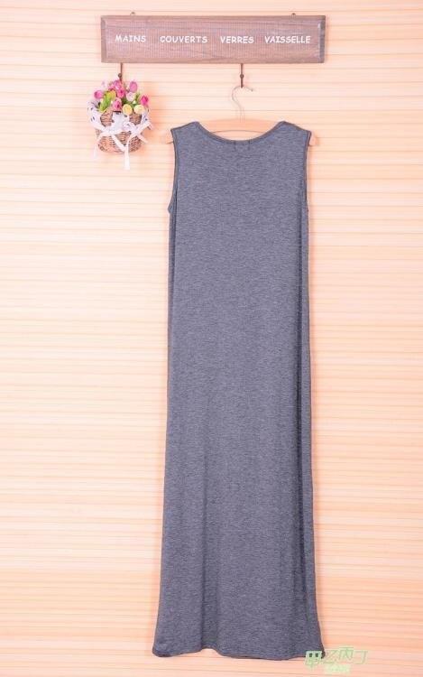 夏女裝新品正韓無袖背心長裙大尺碼打底裙寬鬆吊帶連身裙