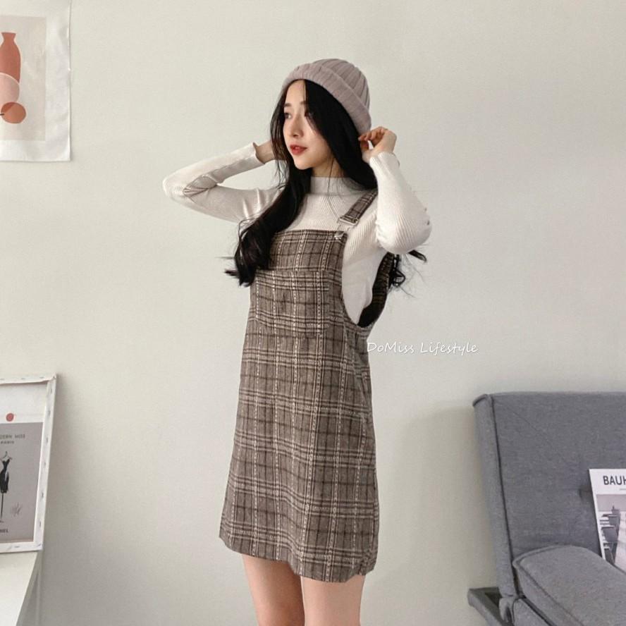 DoMiss俏皮格紋吊帶裙+半高領針織衫 兩件套 洋裝 套裝 吊帶裙(現貨)