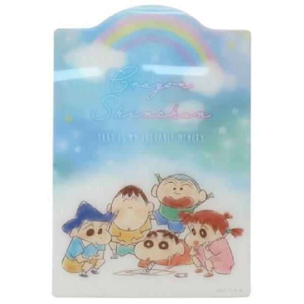 小禮堂 蠟筆小新 日製 B5造型硬墊板 透明墊板 塑膠桌墊 寫字墊 (藍 彩虹) 4548626-12742