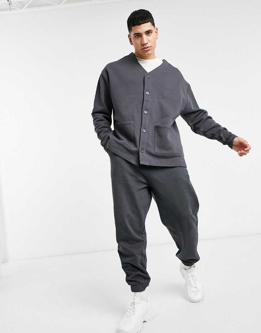 ASOS DESIGN oversized jersey cardigan in washed black-Blue