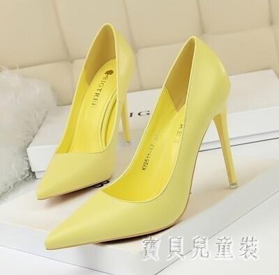 春季新款性感高跟鞋女細跟公主百搭尖頭小清新少女工作單鞋 LF2058