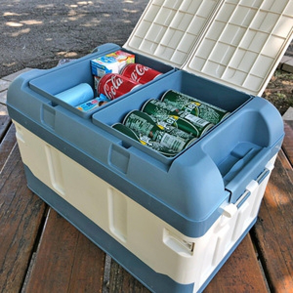 Ligfe露營/車用加高摺疊收納箱-藍色加高摺疊露營收納箱-藍色