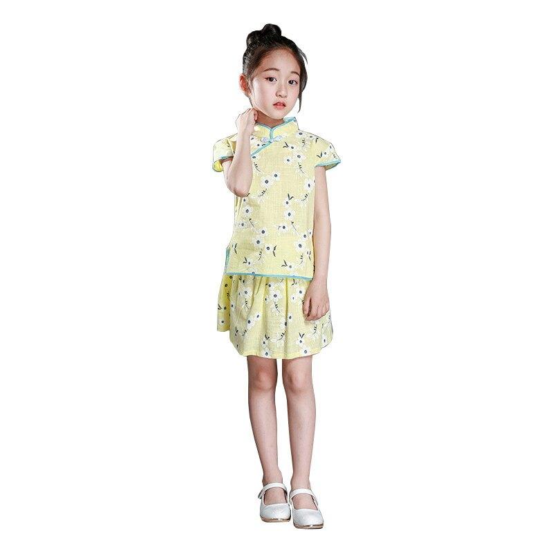 中國古風漢服低價熱批兒童唐裝 女童旗袍中國風童裝套裝短裙女童夏【交換禮物】