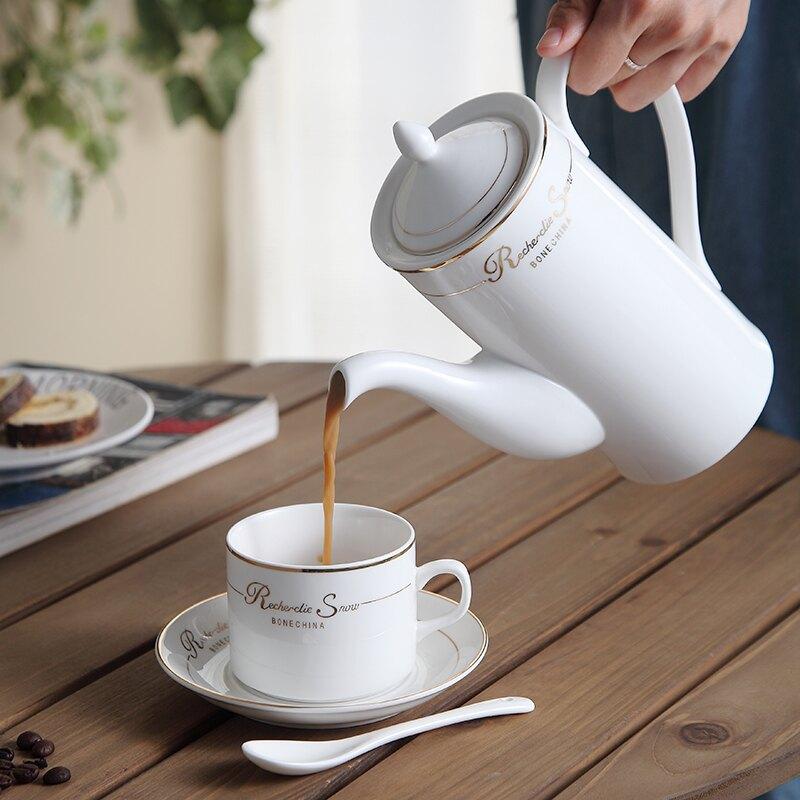 手動咖啡壺 骨瓷咖啡壺手衝壺家用創意茶壺陶瓷冷水壺【快速出貨】