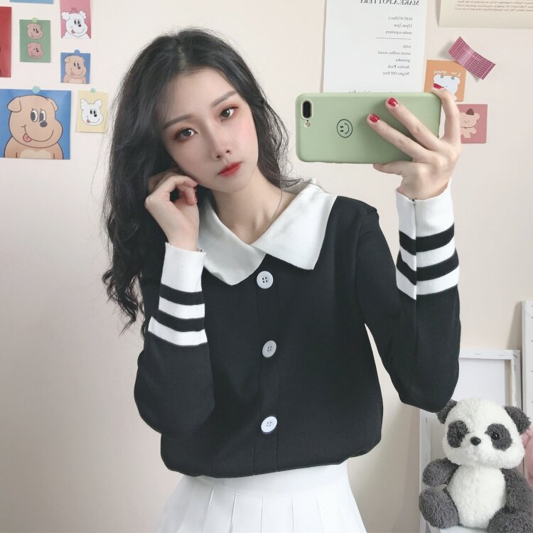 娃娃領上衣 開衫毛衣外套女秋季新款韓版修身娃娃領長袖針織打底衫上衣潮