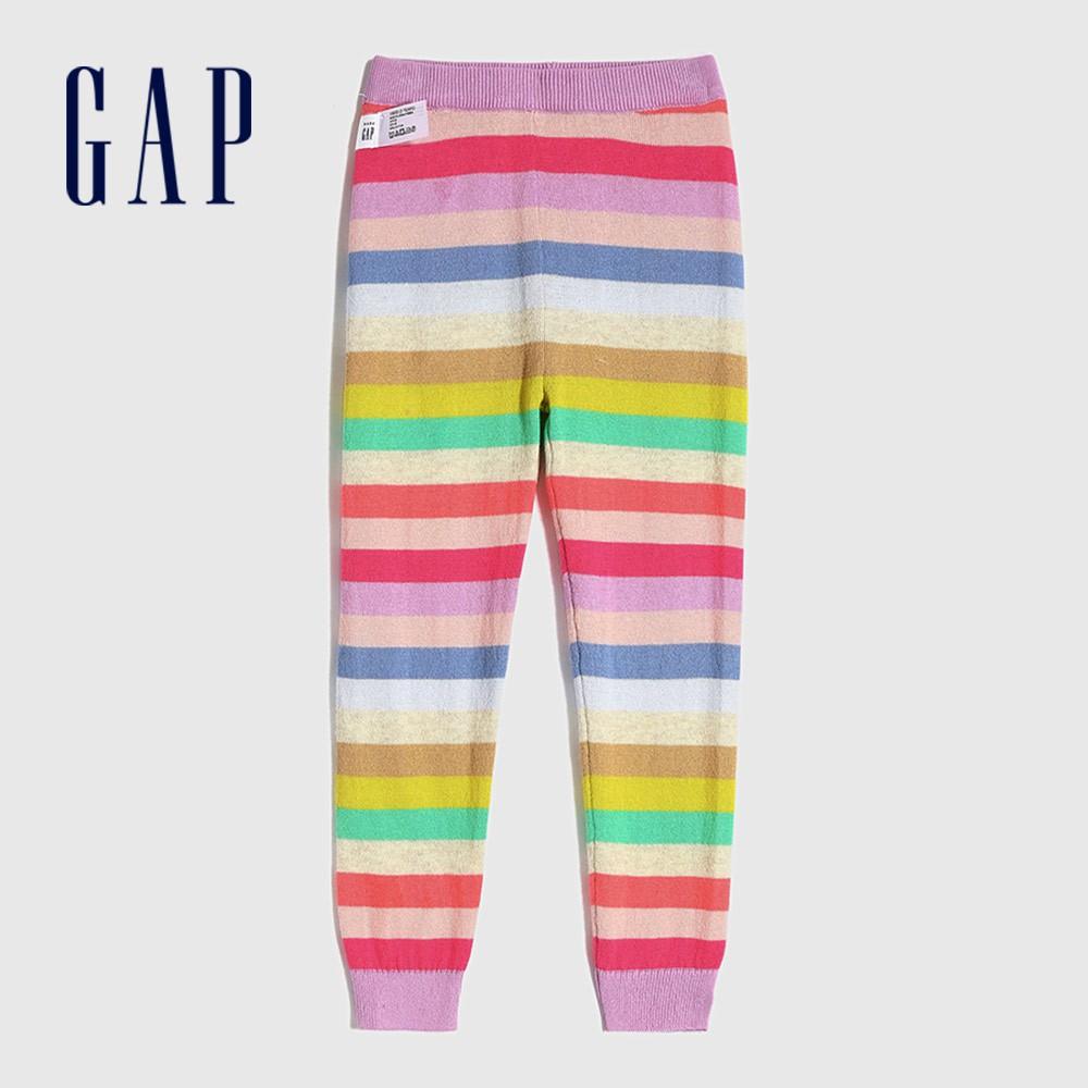Gap 女幼童 棉質撞色條紋鬆緊針織褲 649360-彩色條紋