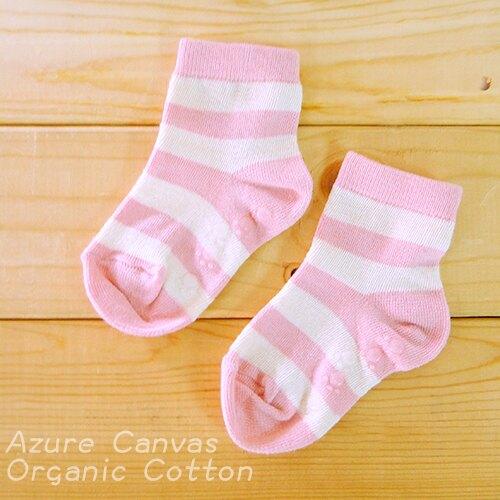 台灣 藍天大地 100%有機棉寬條短襪/幼童/襪子(粉紅條)15-16cm