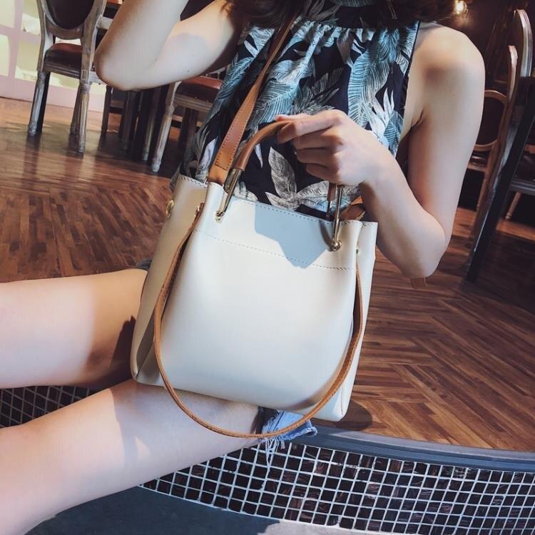 手提包包女潮韓版百搭斜背包簡約時尚側背包大容量水桶包yh