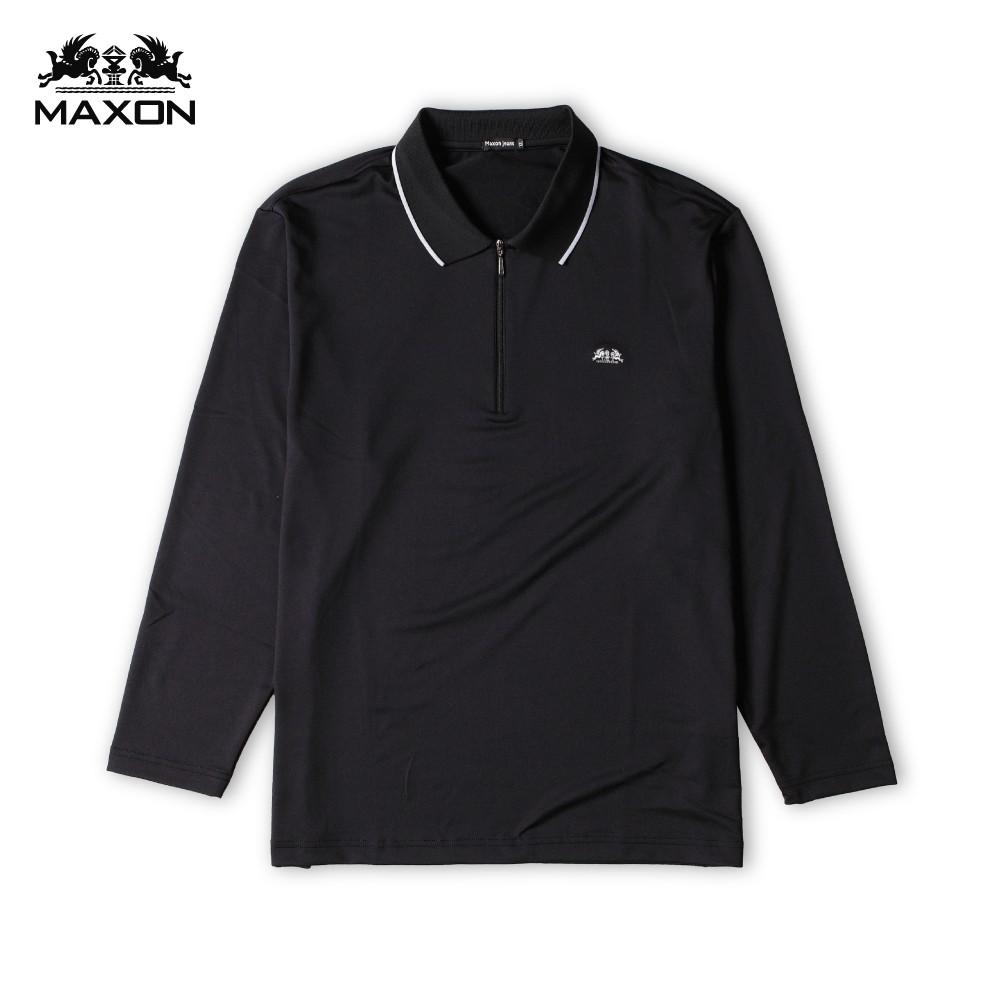 【MAXON】台灣製/大尺碼黑色拉鍊排汗速乾長袖POLO衫XL-5L 加大尺碼 免運