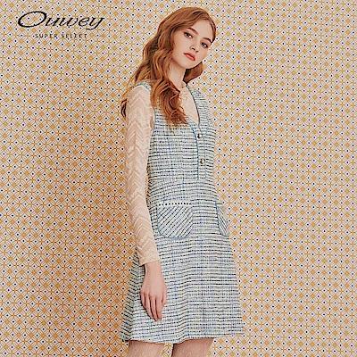 OUWEY歐薇 小香風織蔥A字無袖洋裝(藍)