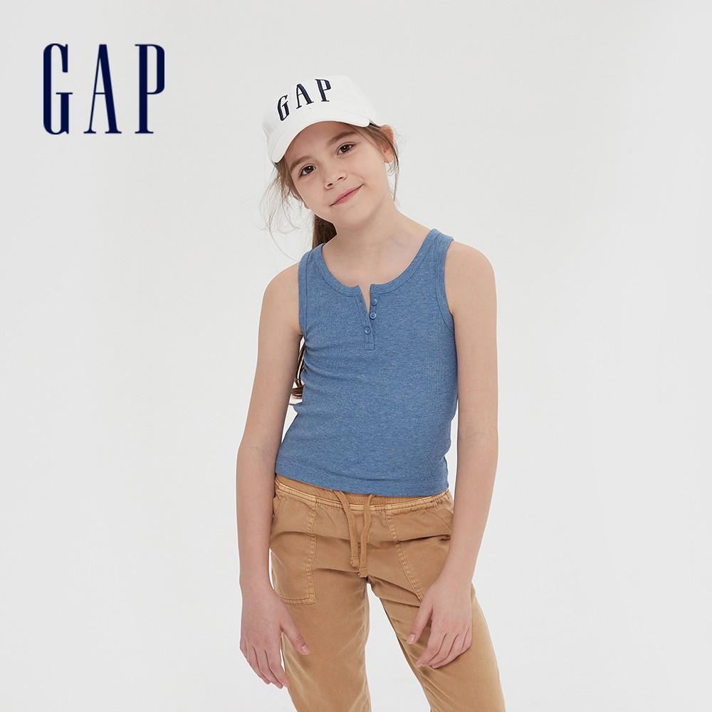 Gap 女童 舒適彈力亨利領背心 577836-淺藍色
