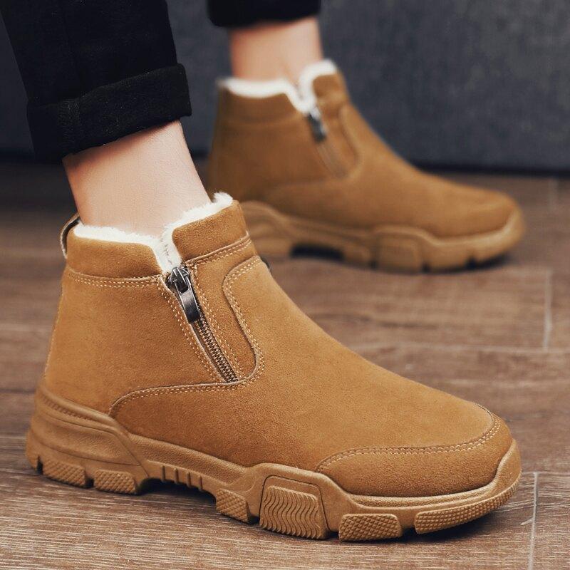 馬丁靴 馬丁短靴 冬季雪地靴面包男鞋加厚東北棉靴刷毛保暖二棉鞋馬丁短靴防水冬鞋【xy1660】