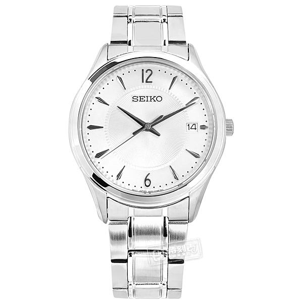 SEIKO 精工 / 6N52-00D0S.SUR417P1 / 簡約時尚 放射紋錶盤 藍寶石水晶玻璃 日期 不鏽鋼手錶 白色 39mm