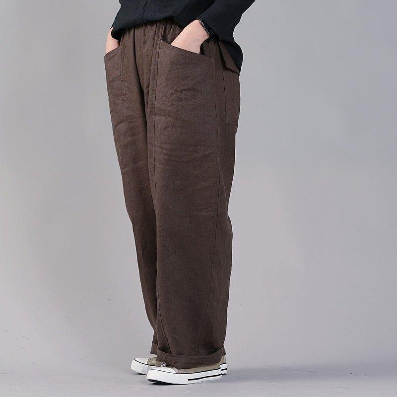 wafu --Ama褲子中型亞麻寬鬆褲/ Adove Brown b011a-abn2