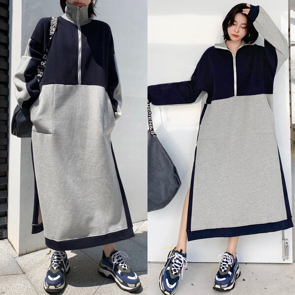新品▶洋裝 連身裙 2020新款cec高領衛衣裙中長款套頭上衣潮百搭過膝連身裙3007 NC417 韓依紡