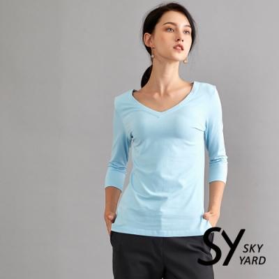 【GABBIANO】親膚棉質V領七分袖上衣-藍色