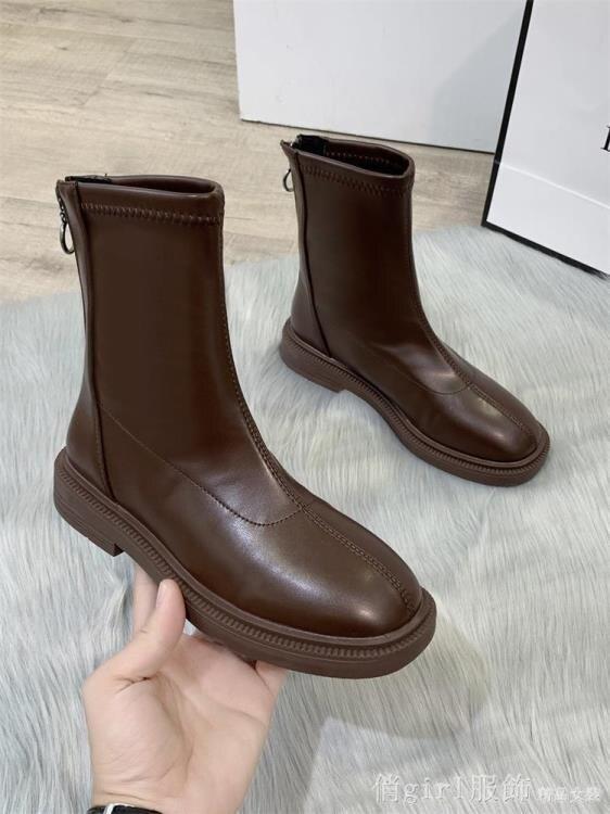 短靴 瘦瘦馬丁靴2020年秋季新款加絨秋冬韓版ins網紅單靴中筒小短靴女