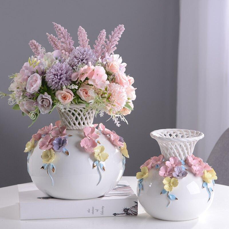 家居飾品擺件歐式圓花瓶創意陶瓷器花插工藝品擺設餐桌花瓶禮品