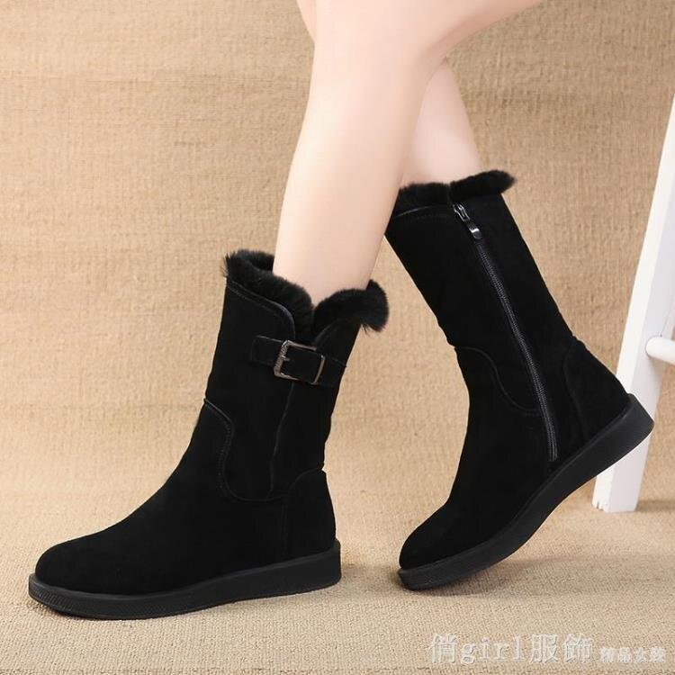 中筒靴 雪地靴女2020新款冬季平底棉靴韓版學生棉鞋中筒加絨保暖百搭女靴
