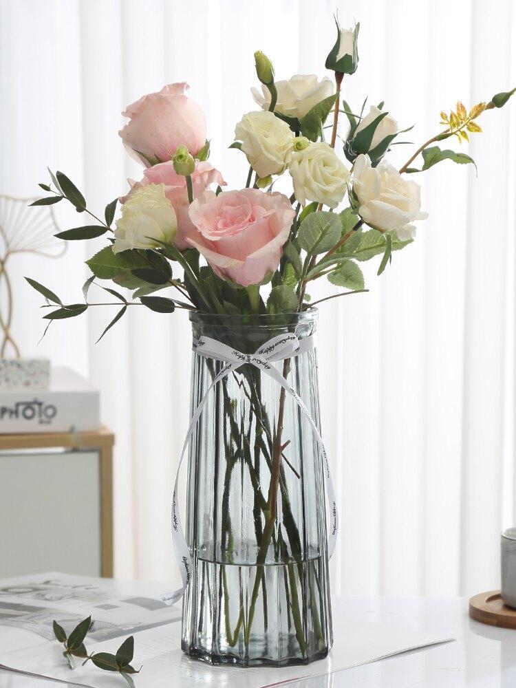 【二件套】大號玻璃花瓶透明歐式水養百合干花富貴竹花瓶插花擺件