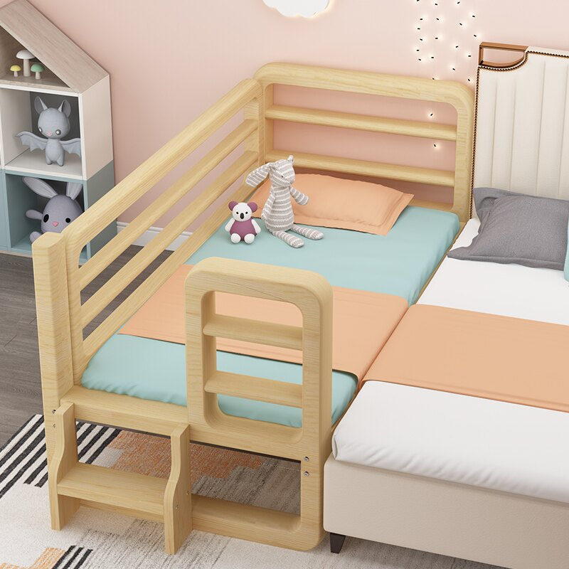 實木兒童床帶護欄加寬床拼接床嬰兒床男孩女孩單人床小床拼接大床